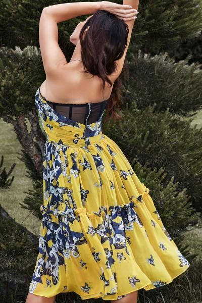 """""""Capri"""" yellow floral chiffon dress"""