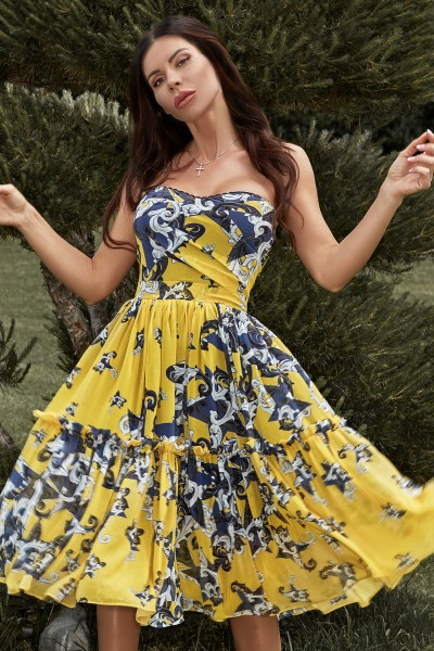 """Capri"" yellow floral chiffon dress"