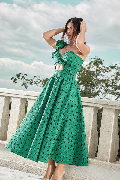 """VOGUE"" green polka dot dress / Last one left!"