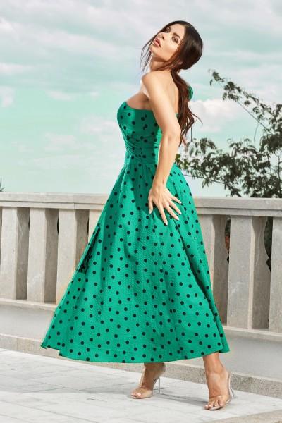 """VOGUE"" green polka dot dress / Last one left!"