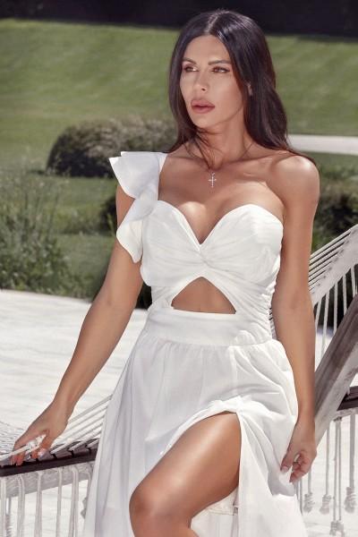"""""""VOGUE VANILLA"""" white bustier dress"""