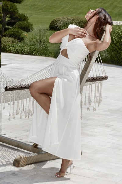 """VOGUE VANILLA"" white bustier dress"