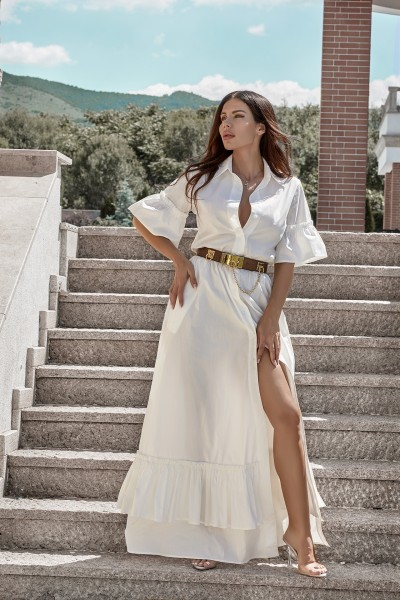 """Simone"" long white shirt dress"