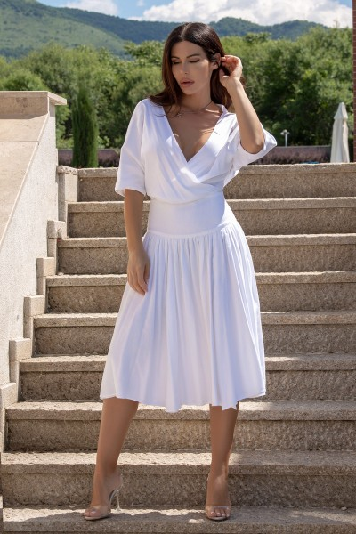 """KELLY"" white kimono sleeves dress"