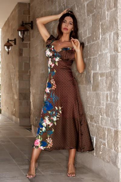 """APPEAL"" floral brown satin dress"