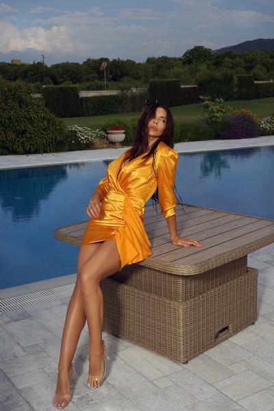 """""""AV"""" ruched orange satin dress"""