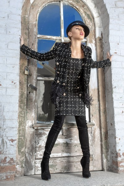 Ingrid Noir boucle blazer with feathers