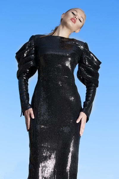 Nera Dress black sequins midi dress