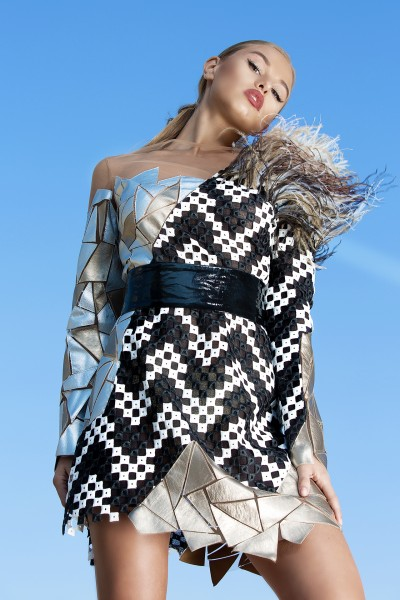 """Mosaic"" demi-couture dress"