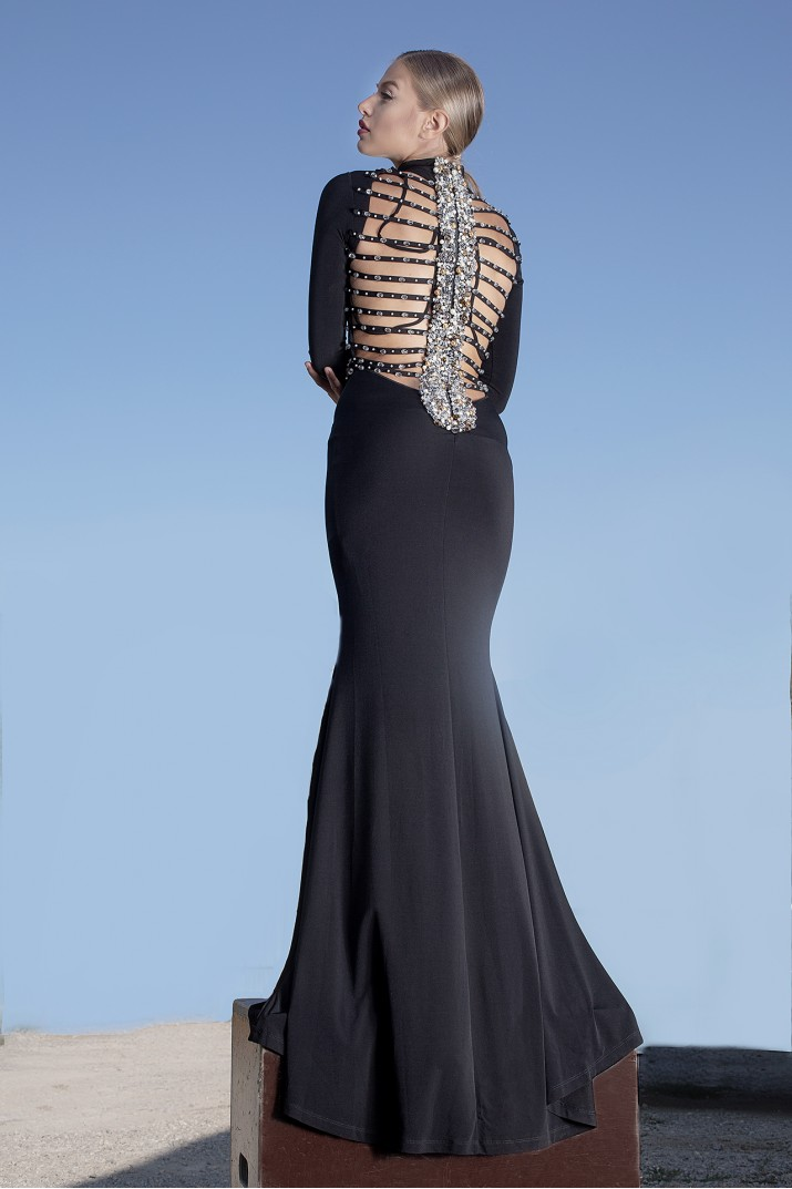 """Sierra"" black gown with embellishment"
