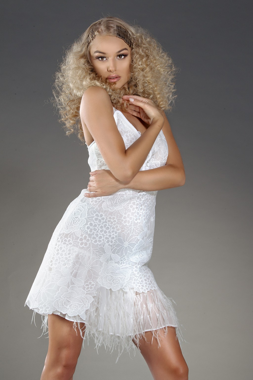"""""""Kalie"""" white lace dress with feathers trimming"""
