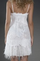 Kalie white lace dress with feathers trimming