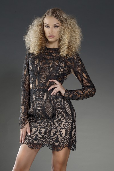 """Madelene Noir"" structured black lace dress"