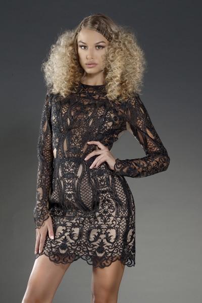 """Madelene Noir"" structured black lace dress"