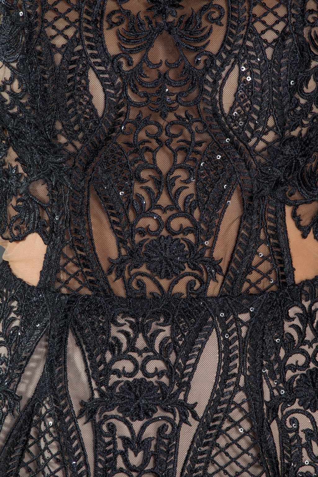 Madelene Noir structured black lace dress