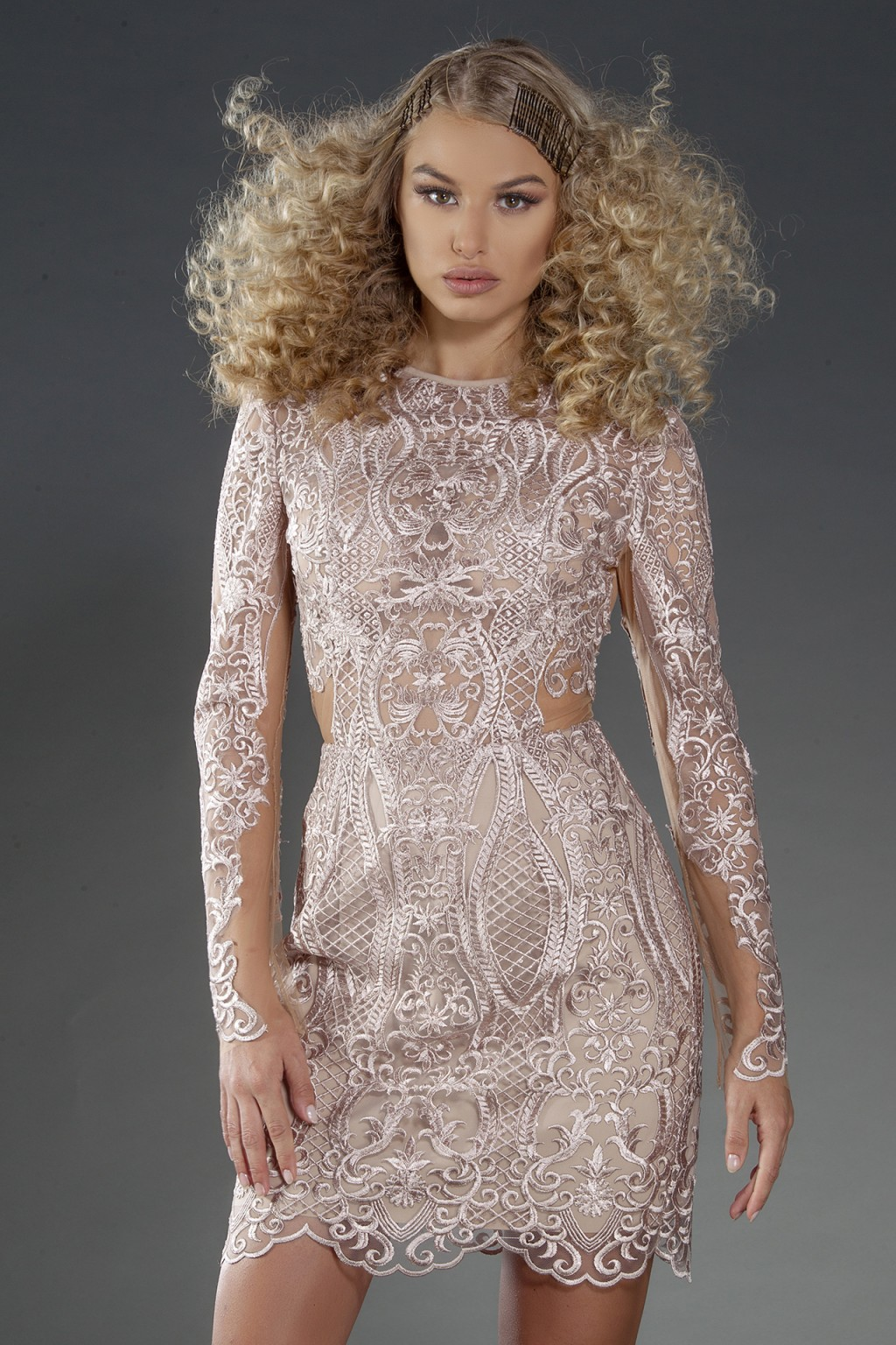 """Madelene Caviar"" light beige structured lace dress"