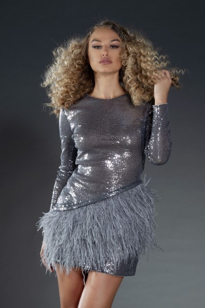 Grey Swan sequins and feathers dress