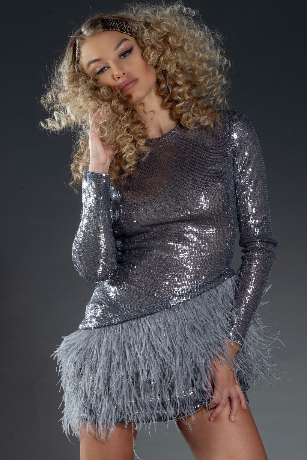 """Grey Swan"" sequins and feathers dress"