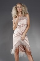 Fayana satin wrap dress with ostrich feathers