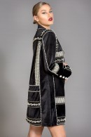 Gloria oversized velvet pearl beads embellished blazer