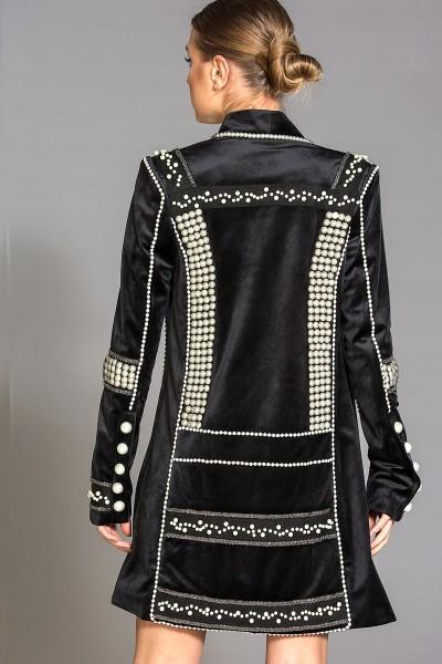 """Gloria"" oversized velvet pearl beads embellished blazer"