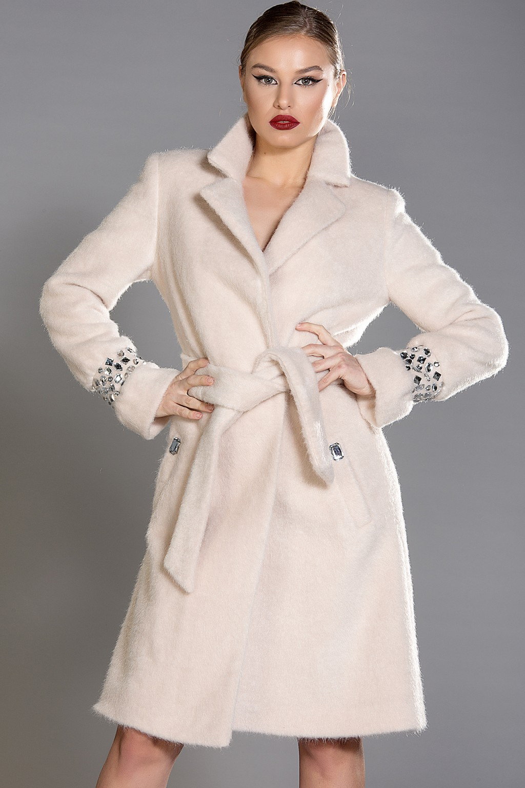 """Roma"" mohair-blend coat with clear crystals"