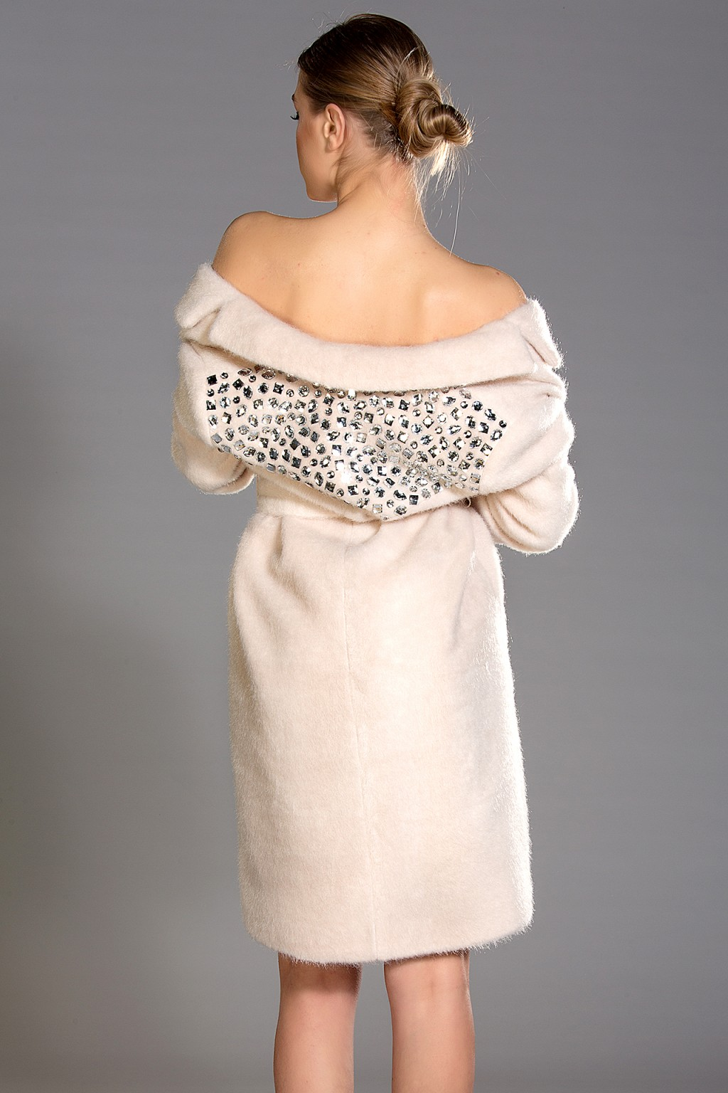 Roma mohair-blend coat with clear crystals