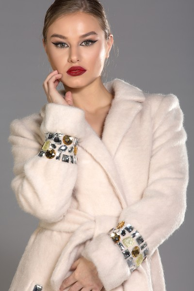 Roma mohair-blend coat with mixed colour crystals