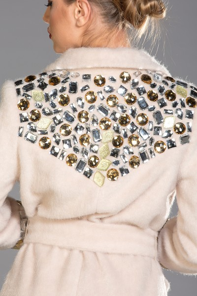 """""""Roma"""" mohair-blend coat with mixed colour crystals"""