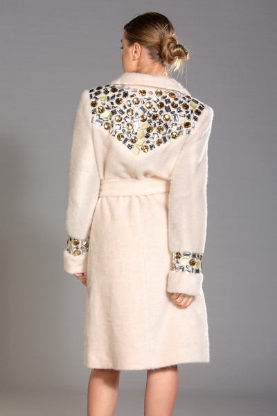 """Roma"" mohair-blend coat with mixed colour crystals"