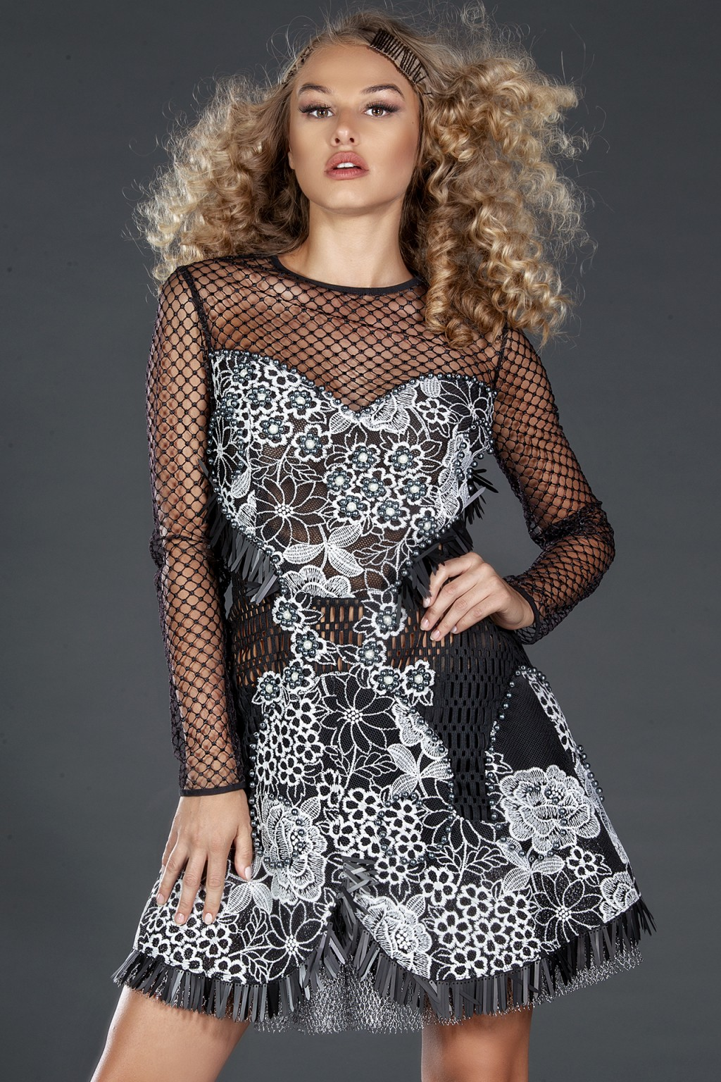 """Angelica"" lace and mesh dress"