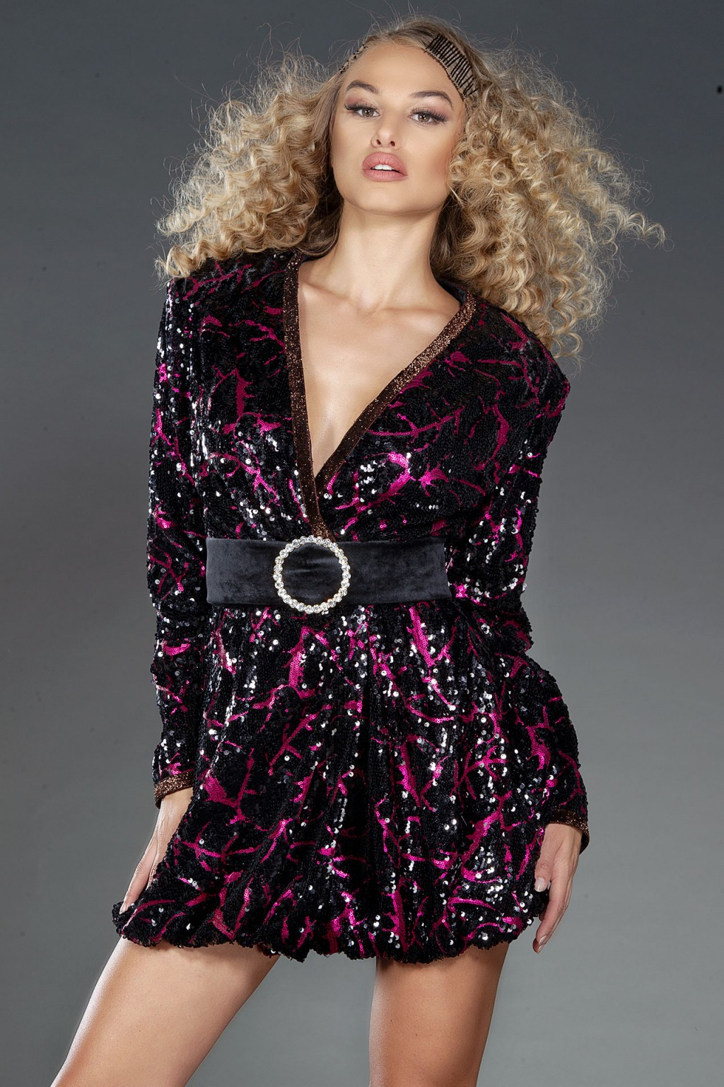 """Fuscia"" Dream black and pink wrap dress with belt"