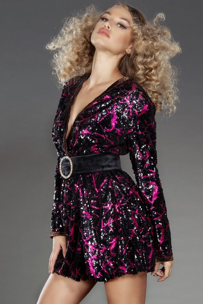 Fuscia Dream black and pink wrap dress with belt