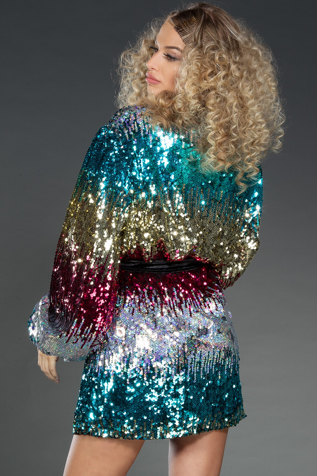 Rainbow wrap multi-color sequins dress