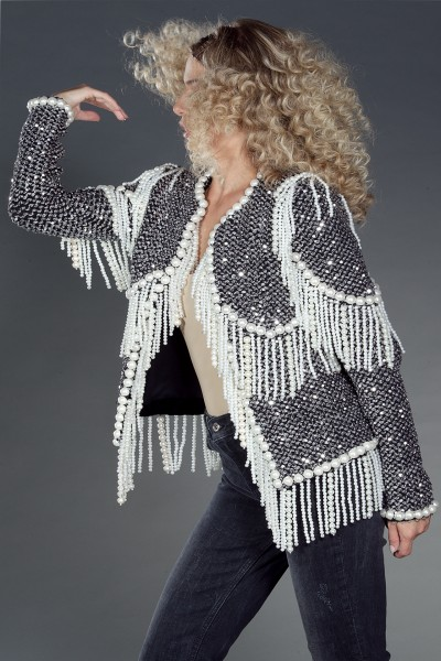 """Gabrielle"" knit boucle embellished jacket"