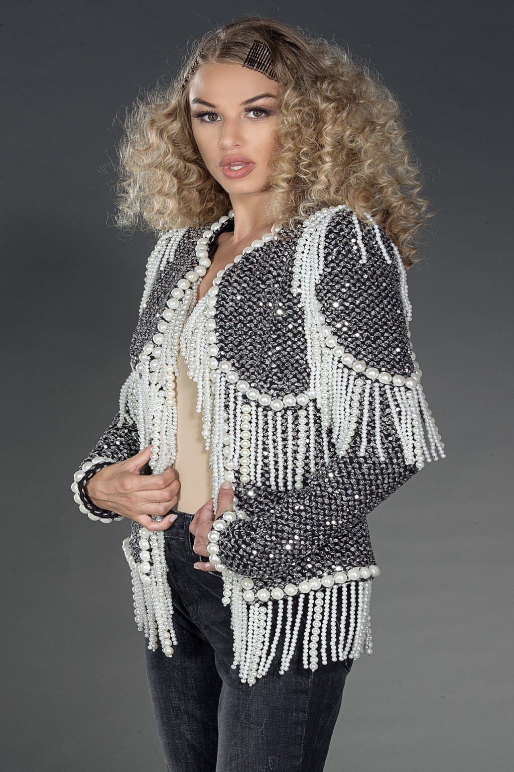Gabrielle Jacket knit boucle embellished jacket