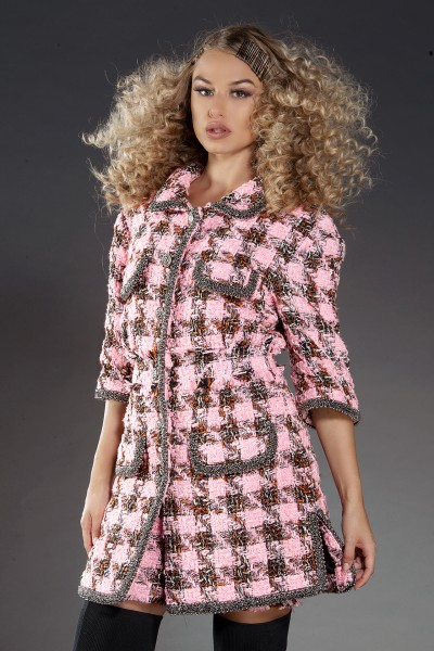 Coco boucle-tweed checked jacket/dress