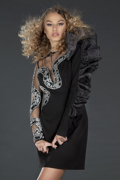 """Snake"" black evening embellished dress"