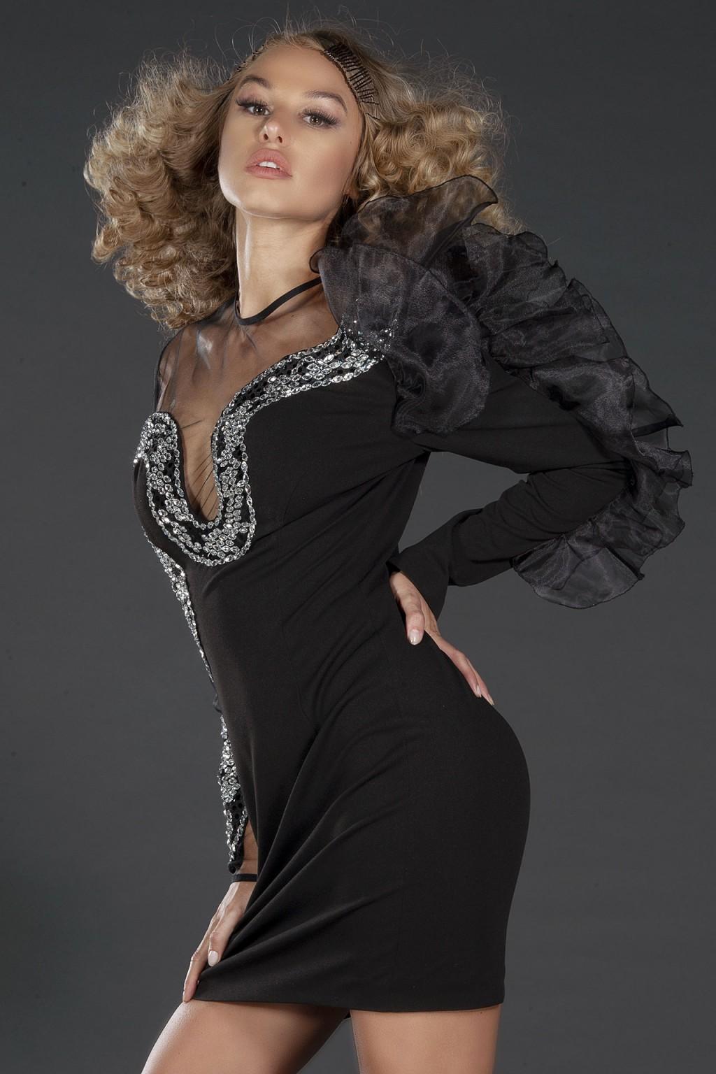 Snake black evening embellished dress