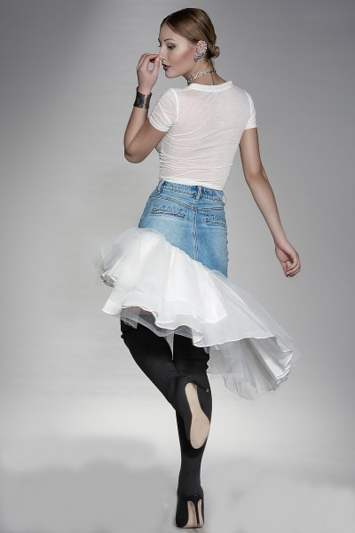 """""""Feerie"""" denim skirt with ruffles"""