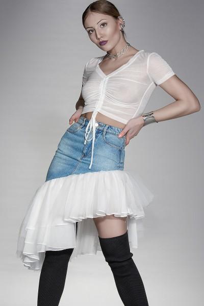 Feerie denim skirt with ruffles