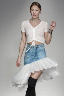 """Feerie"" denim skirt with ruffles"