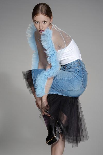 Shape bodycon denim skirt
