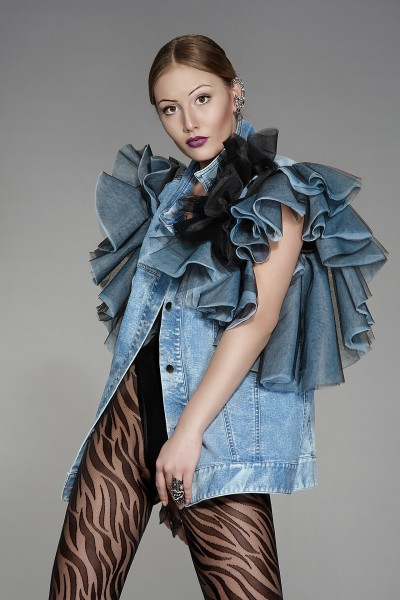 """Maddison"" oversized denim vest"