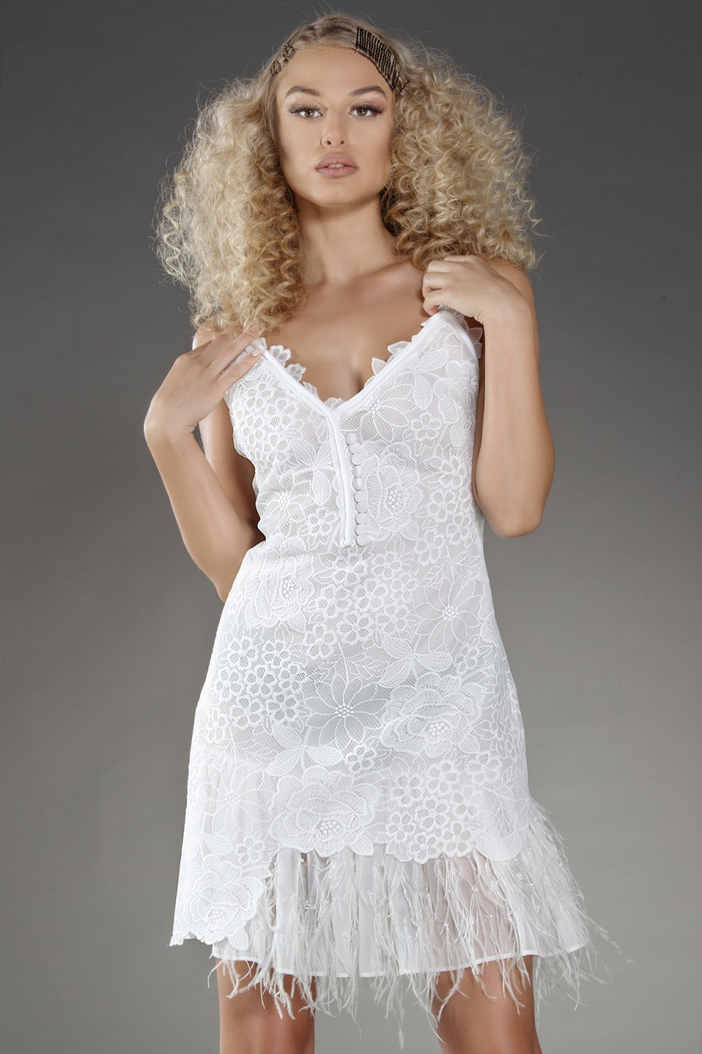 """Kalie"" white lace dress with feathers trimming"