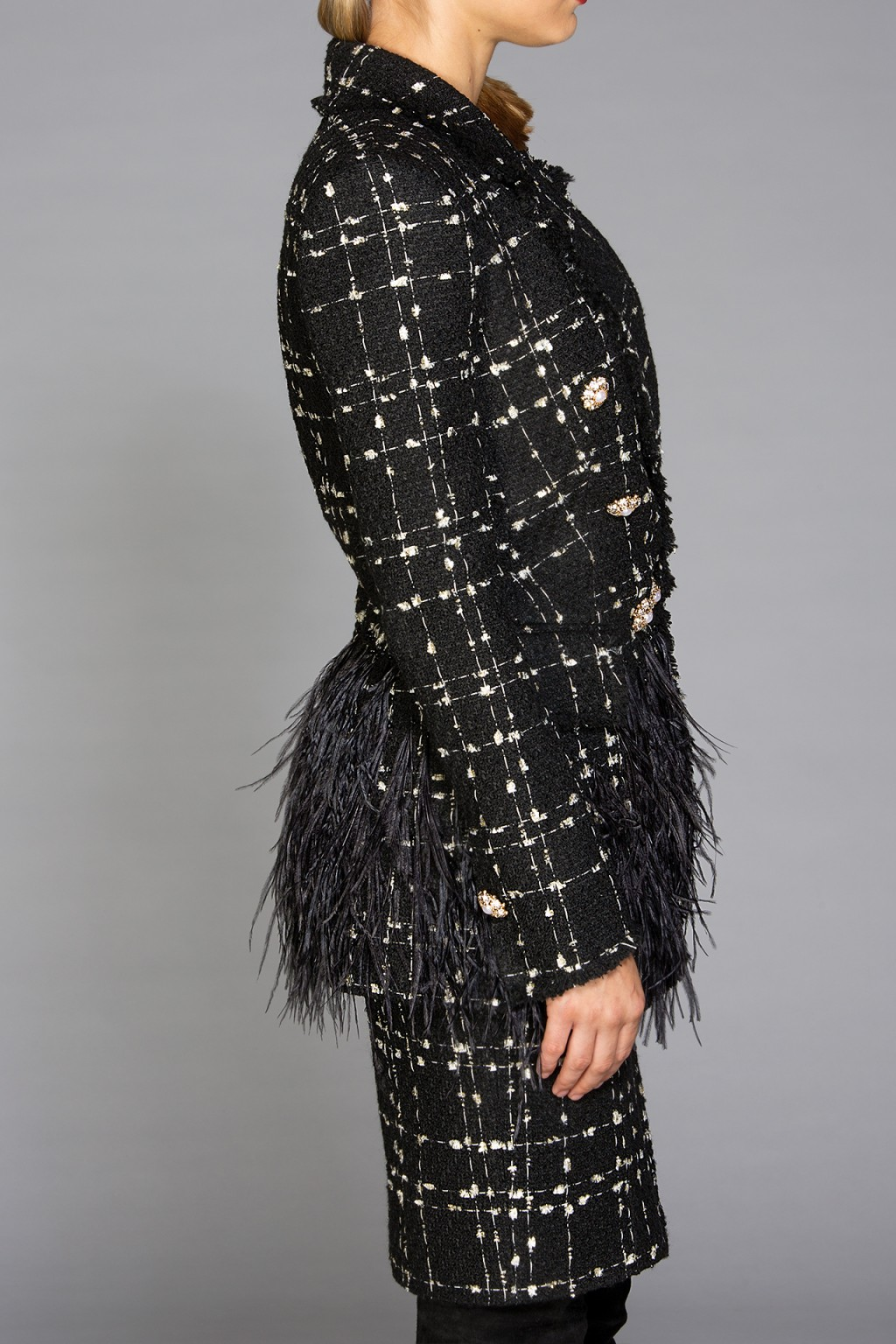 """Ingrid Noir"" boucle blazer with feathers"