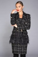 """""""Ingrid Noir"""" boucle blazer with feathers"""
