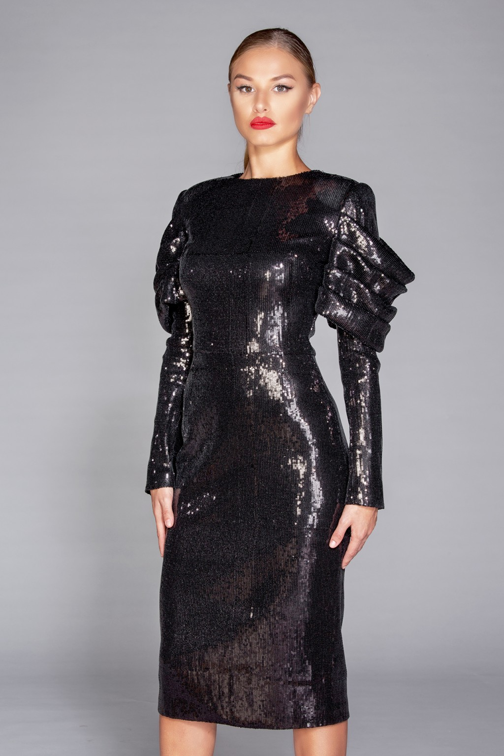 """Nera"" black sequins midi dress"