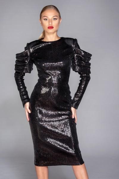 """Nera"" black sequins midi dress"