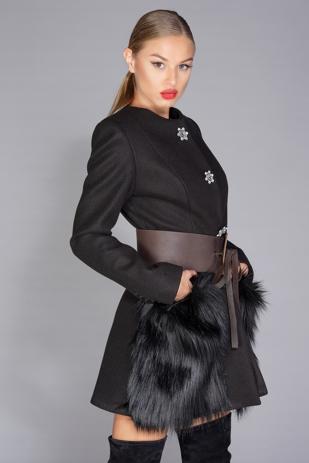 """Taylor Class"" wool-blend coat with eco fur"